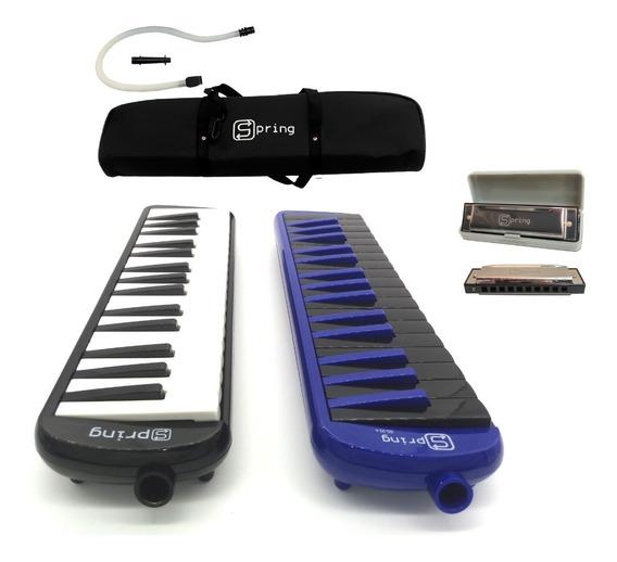 Gaita Diatônica Blues Dó C + Escaleta 32 Teclas Spring Kit