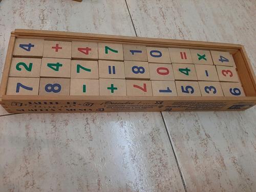 Juego Didactico Taller De Números Y Signos.  En Madera