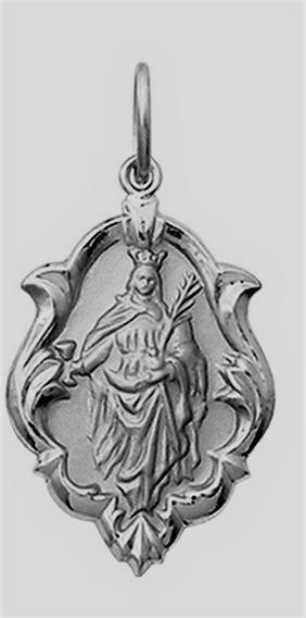 Medalha Pingente Santa Grande E Corrente Ouro 18k