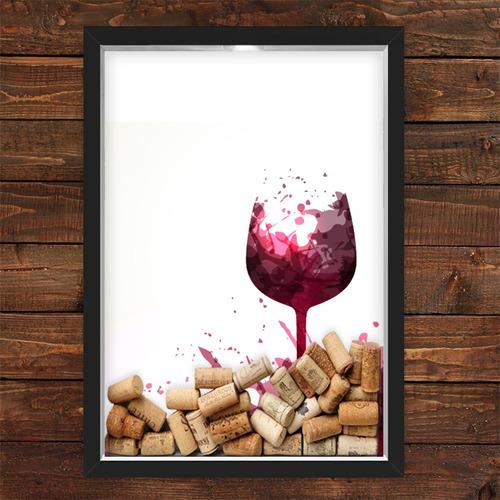 Imagem 1 de 1 de Quadro Caixa Porta Rolhas Vinho Taça Vinho