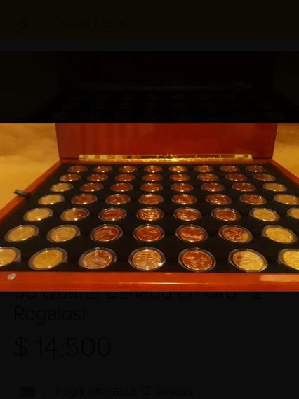 Usa-maletin De Roble Con 56 Quarte Bañadas En Oro+2 Regalos!