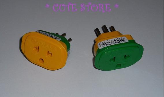 Kit Verde Amarelo Tomada Beijamin T Adaptador Novo E Antigo