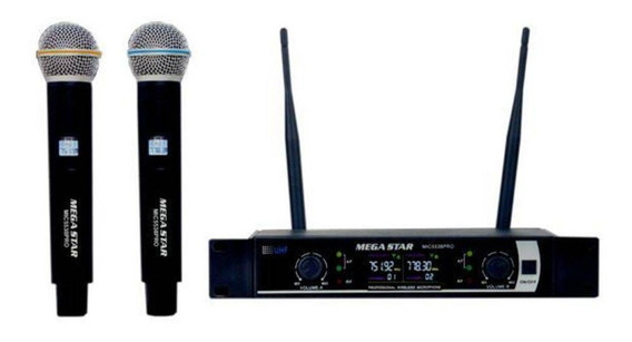 Microfone Profissional Sem Fio Duplo 2 Megastar Uhf Bivolt