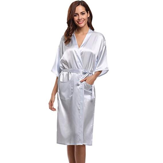 Aibrou Bata Kimono De Para Mujer Larga Clásica