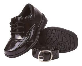 Sapato Social Infantil Verniz Masculino Com Cinto 20/27
