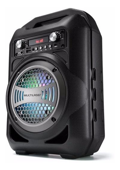 Caixa De Som Portátil Com Bateria Luzes Led Multilaser Sp256