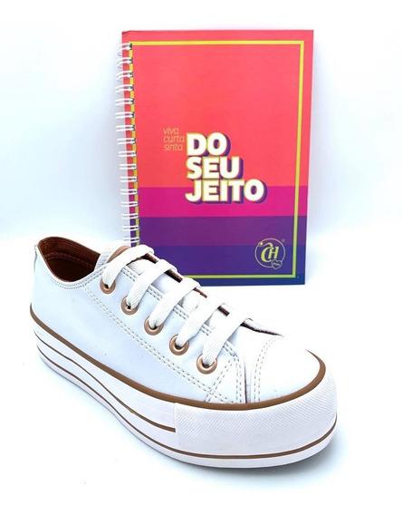 Tênis Feminino Capricho Plataform Branco/cobre+caderno