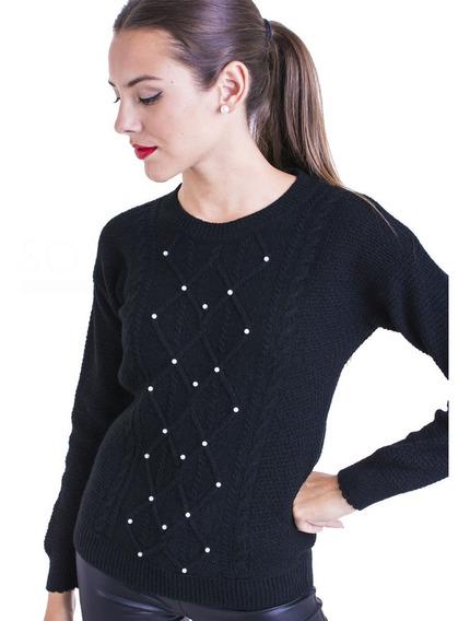 Sweater Mujer Cuello Redondo Saco Con Perlas Moda Kierouno