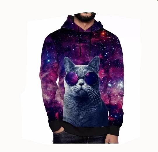 Moletom Galaxy Galaxia Swag Gato Tumblr Ny Universo Capuz 3d