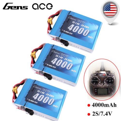 Imagen 1 de 5 de 3pcs Gens Ace 4000mah 2s 7.4v Tx Lipo Batería De Spektrum Dx