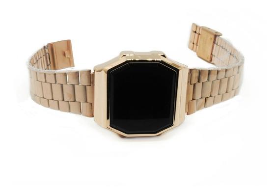 Reloj Metálico Rosa Digital Touch Screen Para Mujer