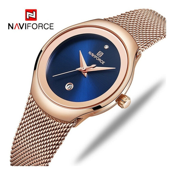 Relógio Naviforce Nf5004 Feminino Luxo Em Aço