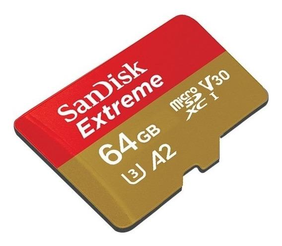 Cartão Memoria Micro Sd Sdxc Extreme 64gb Classe 10 U3 A2 4k