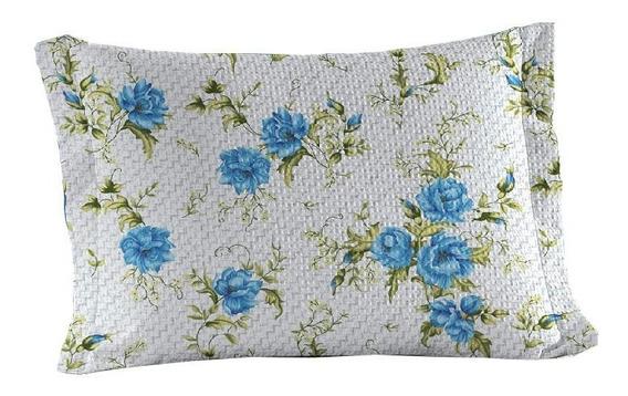Porta Travesseiro Abas Teka Flores Azuis Elizabeth 50x70cm