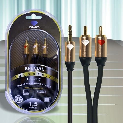 Cabo De Áudio Stéreo P2 X Rca 1,5m Gs-3035 -diamond Cable