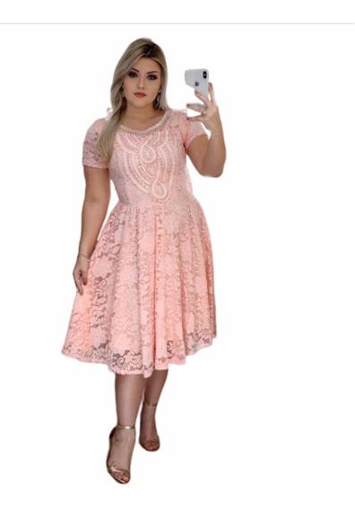 Vestido Midi Renda Com Pérolas Moda Evangélica Festa