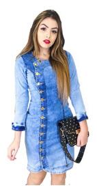 Roupas Femininas Vestido Médio Jeans Moda Evangélica 045