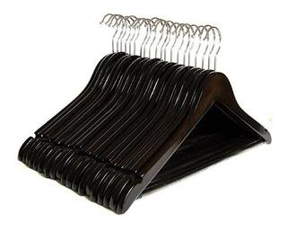 Set De 20 Ganchos De Madera Para Ropa Color Negro