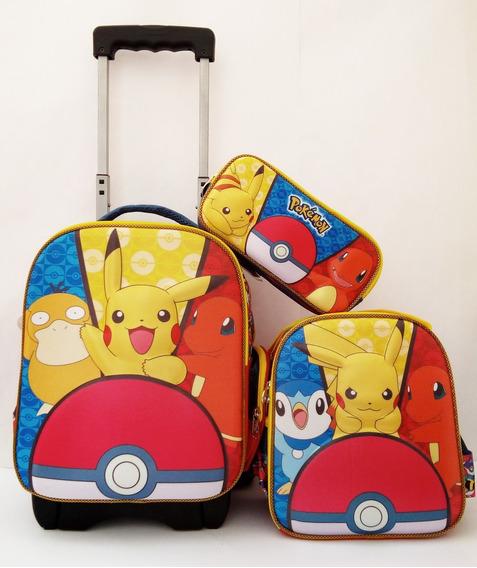 Mochila Pokémon Go Pikachu Para Kinder Con Carro Lonch Y Lap