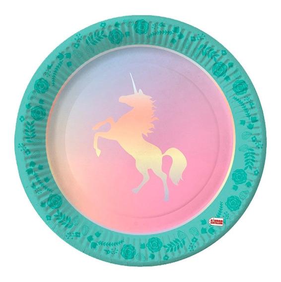 Plato Unicornio 22,5 Cm X 6 Descartables - Ciudad Cotillón