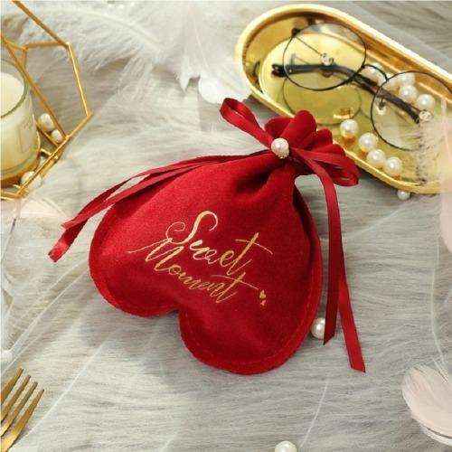 2 Pcs Wedding Candy Bag Velvet Portable Beam Mouth