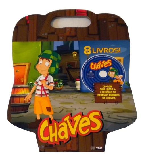 8 Livros Do Chaves + Cd Com Jogos Maleta Bicho Esperto /