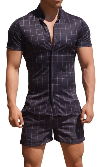 Camisa Check Manga Corta John Leopard Slim Fit (twinset)