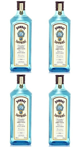 Pack 4 Unidades Gin Bombay Sapphire 1 Litro 100% Original