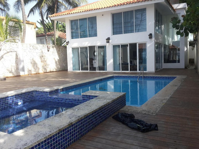 Espectacular Casa En La Playa C/piscina 2niveles Amoblada 6h
