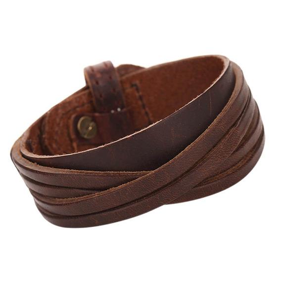 Bracelete De Couro Marrom Com Detalhe Transpassado