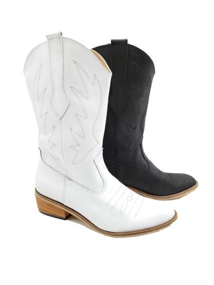 Bota Texana Cuero Vacuno 100% Moda Dama Zapato