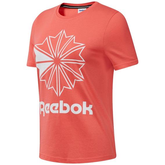 Remera Reebok Classics Gr Big Logo Salmon/bla De Mujer