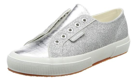 Zapatillas Mujer Superga 2750 Plateada Microglitter