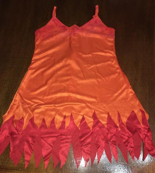 Vestido Para Patin Artístico Naranja Con Rojo Fuego Talle 2