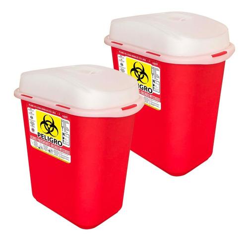 2 Pack Contenedor Para Residuos Punzocortantes Rpbi 13l Rojo