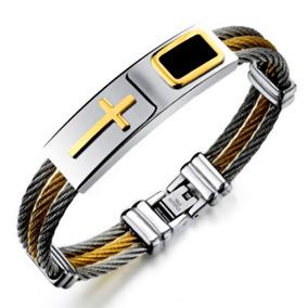 Bracelete Banhada Ouro 18k + Pulseira Cruz Dourada Religiosa