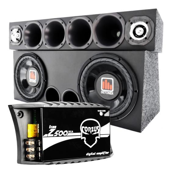Caixa 2 Sub 12 + Corneteira 4driver 2tweeter + Amplificador