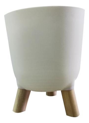 Imagem 1 de 1 de Cachepot De Acrílico Brulet Com Pés De Madeira Branco