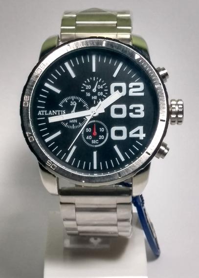 Relógio Masculino Atlantis Analógico Esportivo Grande Pesado Pulseria De Aço Prata A3309 Original +brinde Promoção Nf