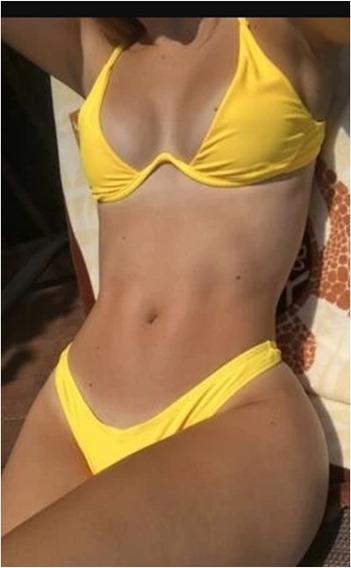 Bikini Corte Alto Y Tirantes Ajustables.