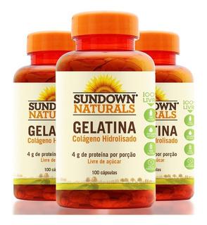 Kit 3 Gelatina Colágeno Hidrolisado - 100 Cápsulas - Sundown