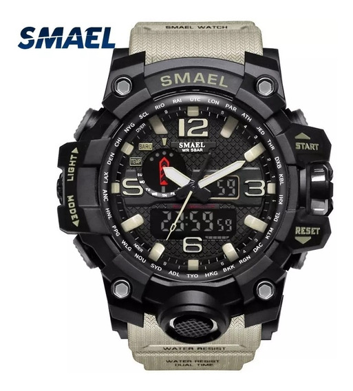Relogio Masculino Smael Militar Esportivo 1545 Dual Time Alarme,cronometro,led Calendario Caixa 55mm Prova D