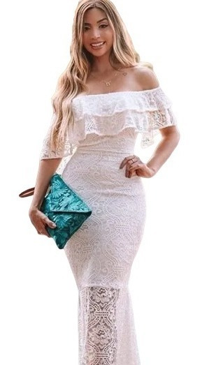 Vestido De Noiva Civil Branco Longo Estiloso Na Moda Festa