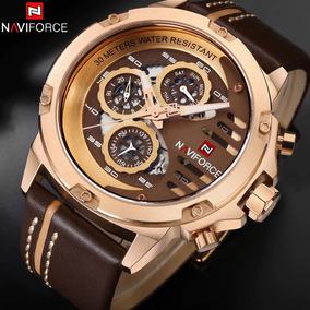 Relógio Naviforce 9110 Original De Luxo Calendário De Couro
