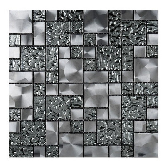 1x Malla Metal Aqua Mosaico Decorativo 30x30cm Vidrio/metal