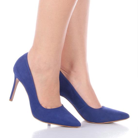 Scarpin Feminino July Couro Azul