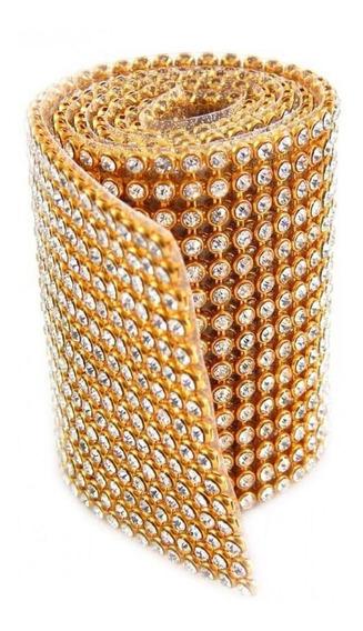 Rolo Manta Strass Brilho - Dourado - 11cmx45cm Melhor Preço