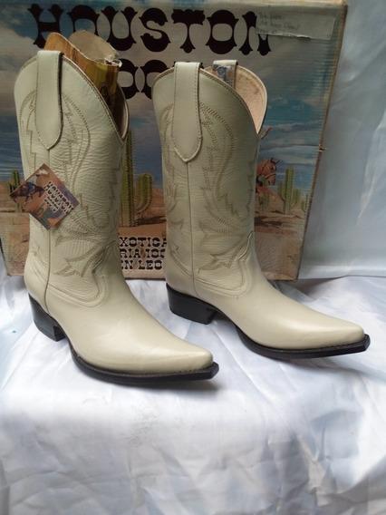 Oferta Bota Vaquera De Piel Houston Boots Color Hueso #23 Nuevas Ultimo Día