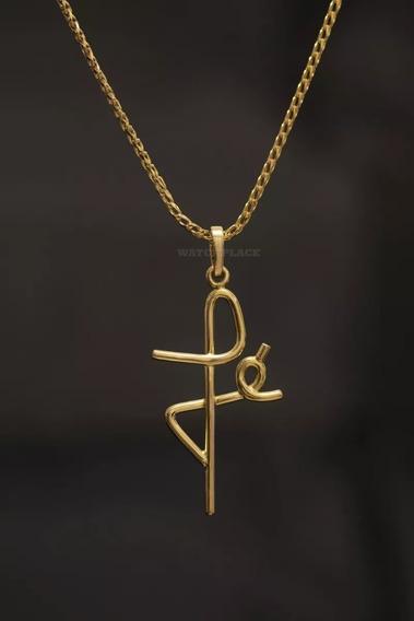 Pingente Crucifixo De Ouro 18k Modelo Fé Escrito I Cruz Ouro