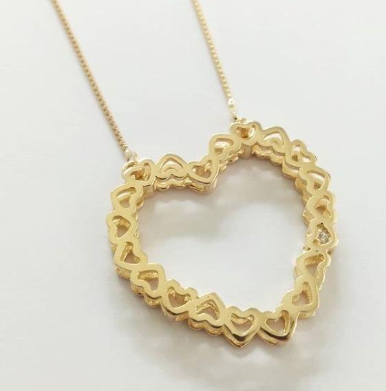 Gargantilha Mandala Coração De Corações Em Banho De Ouro